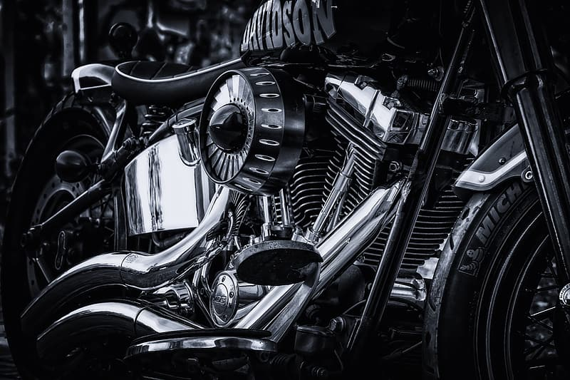 Grayscale photo of motorcycle engine