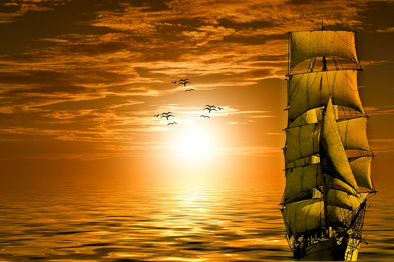 Sail ship on water during golden hour