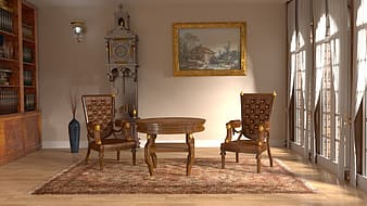 Brown wooden table with chair set