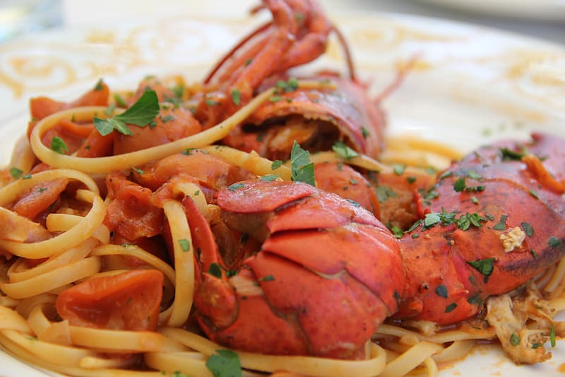 Cooked pasta with lobster on plate