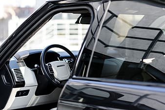 Close-up photography of black and gray vehicle interior