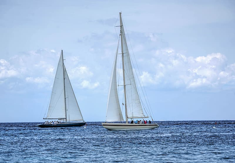 Two white and black sailboats on bodies of water
