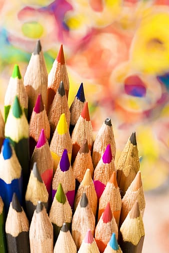 Yellow blue and pink color pencils