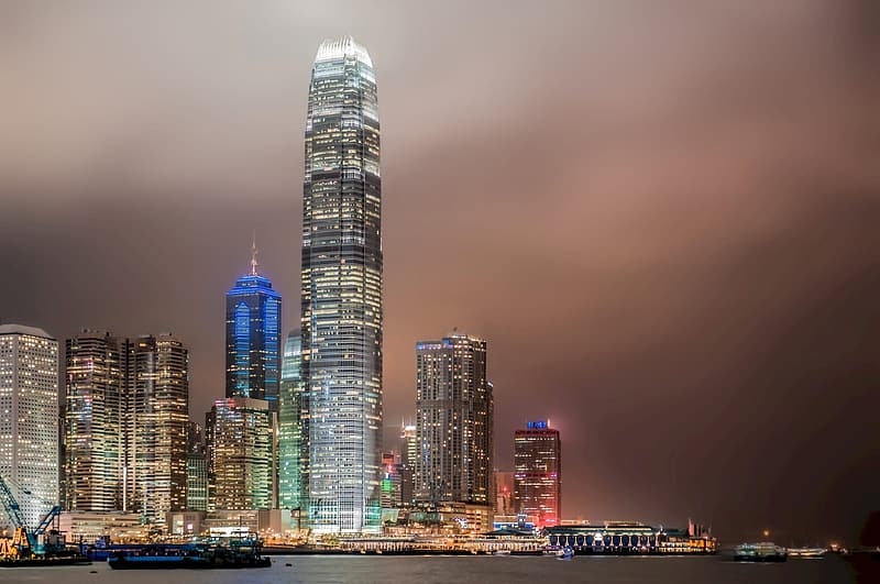 Lighted cities photography