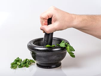 Black mortar and pestle