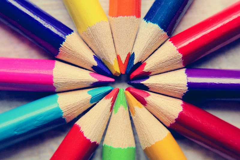 Multi colored coloring pencils in close up photography
