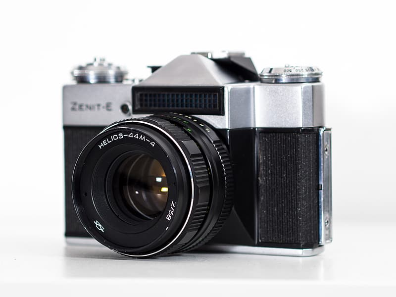 Black and silver Zenit-E SLR camera