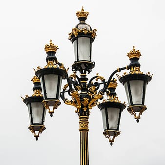 Black and gold-colored light lantern