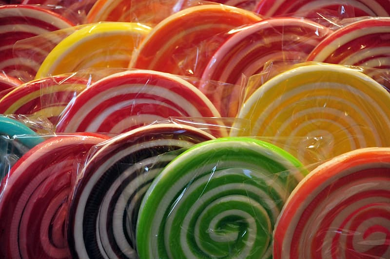 Bunch of packed sugar lollipops