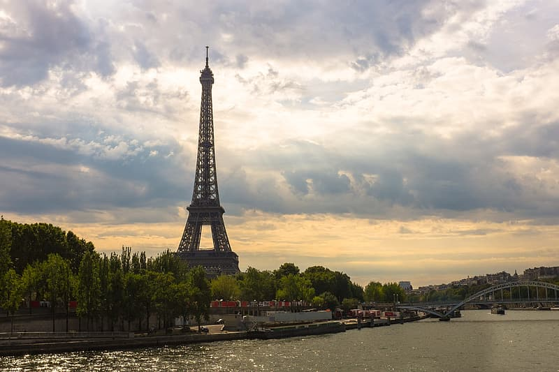 View of an Eiffel Tower near body of water
