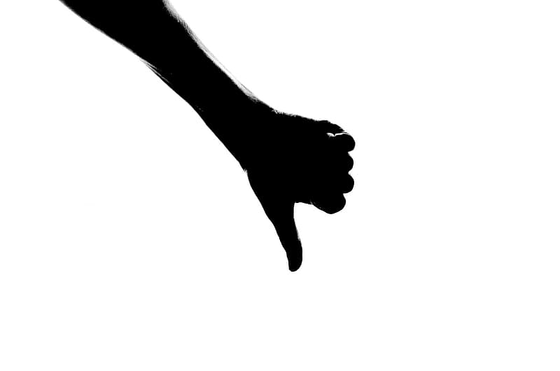 Silhoutte of person right hand