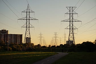 Silhouette of transmissions lines