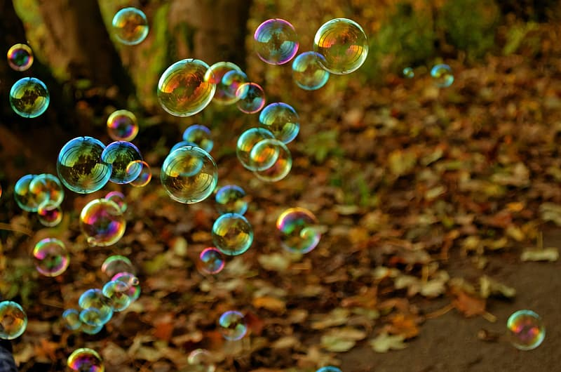 Multicolored floating bubbles