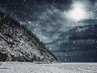 Timelapse photography of falling snows