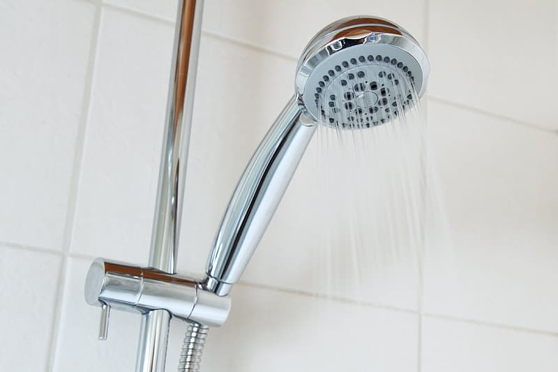 Chrome shower head with water
