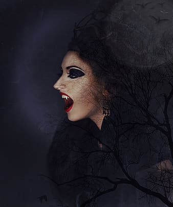 Photography of vampire woman wallpaper