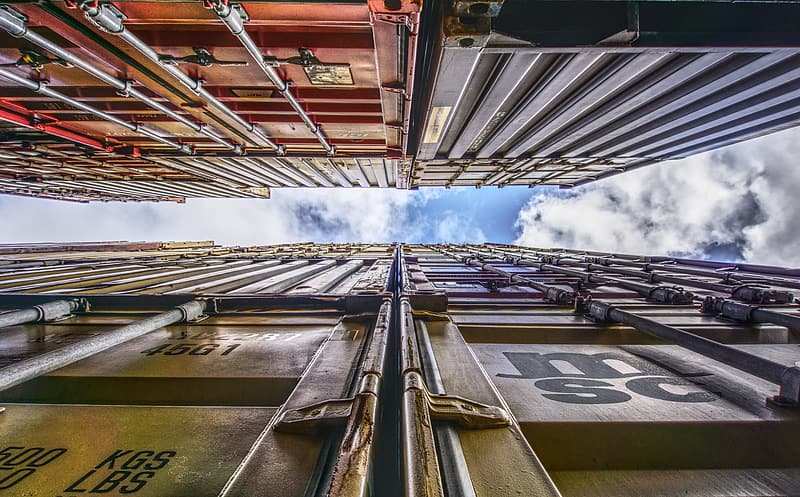 Worm's eye view of freight containers