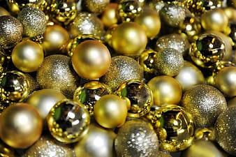 Closeup photo of ball gold beads