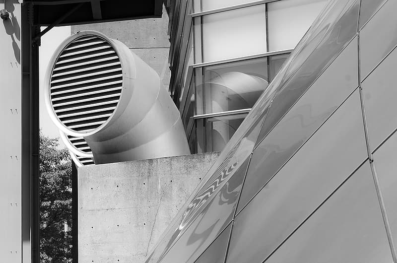 Grayscale photo of vent
