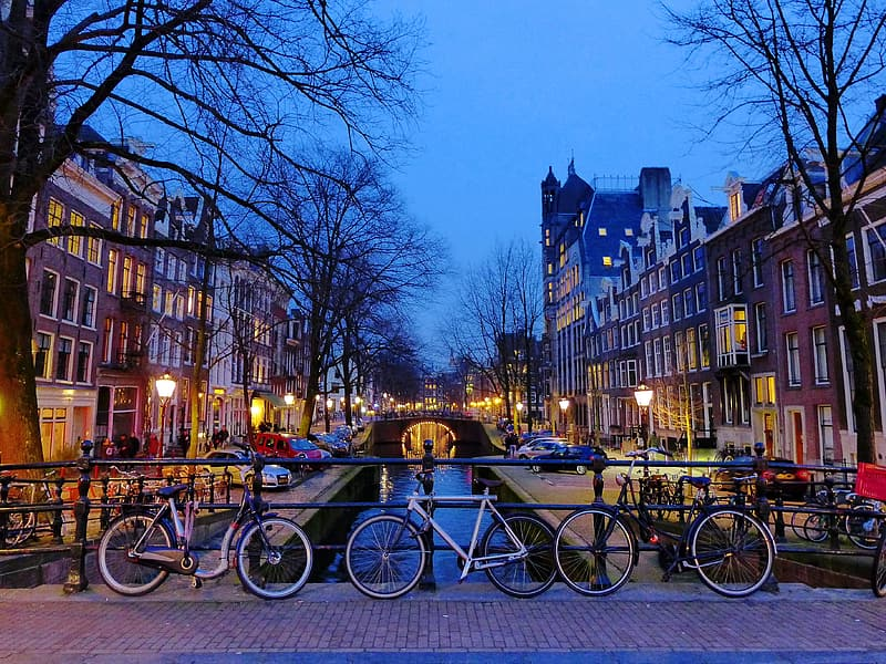 Three bicycle parked near canal in Amsterdam