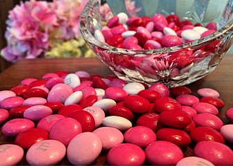 Red and pink M&M's chocolates