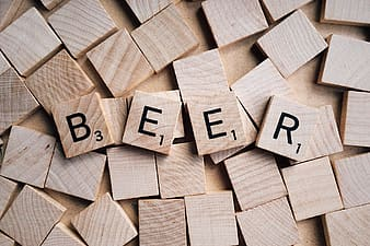 Brown Beer letter scrabble board game