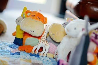 Assorted plush toys on blue and brown textiles