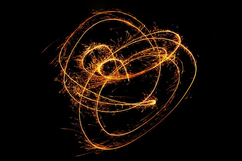 Time-lapse photography of steel wool at night