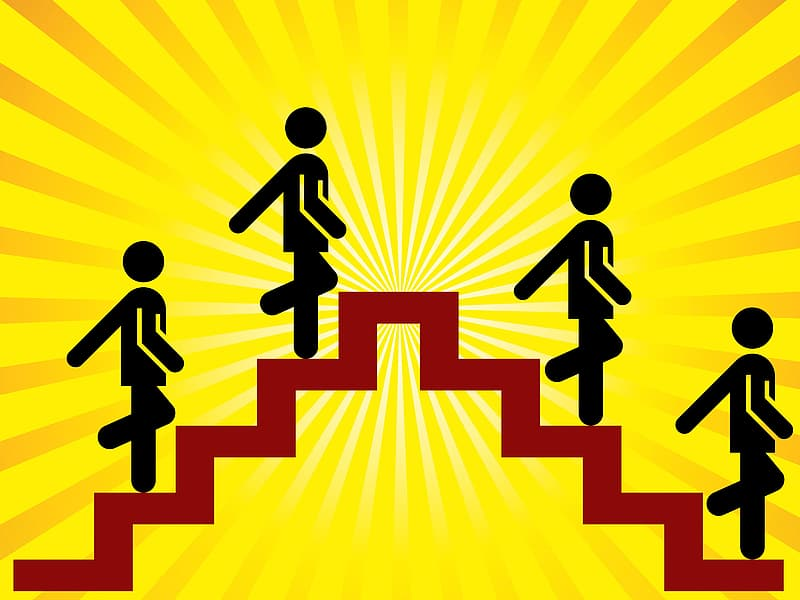 Four person walking on stair illustration