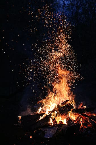 Bonfire during nighttime