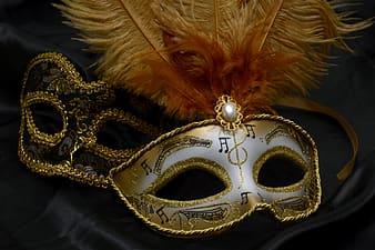 Beige and white masquerade mask
