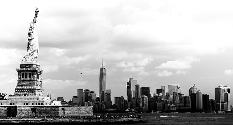 Grayscale photo of Statue of Liberty, New York