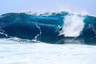 Person in the sea while surfing