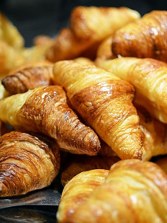 Close-up of baked croissants