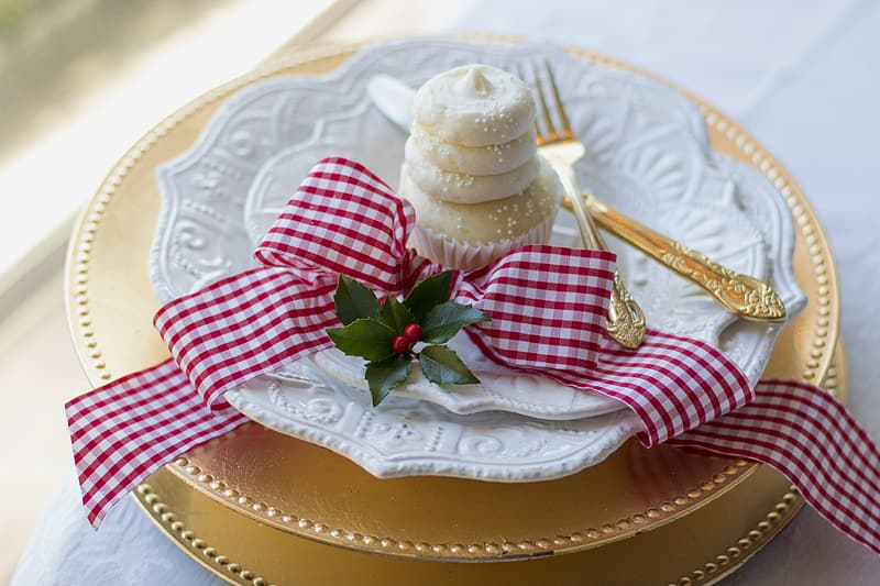 Cupcake on white plate