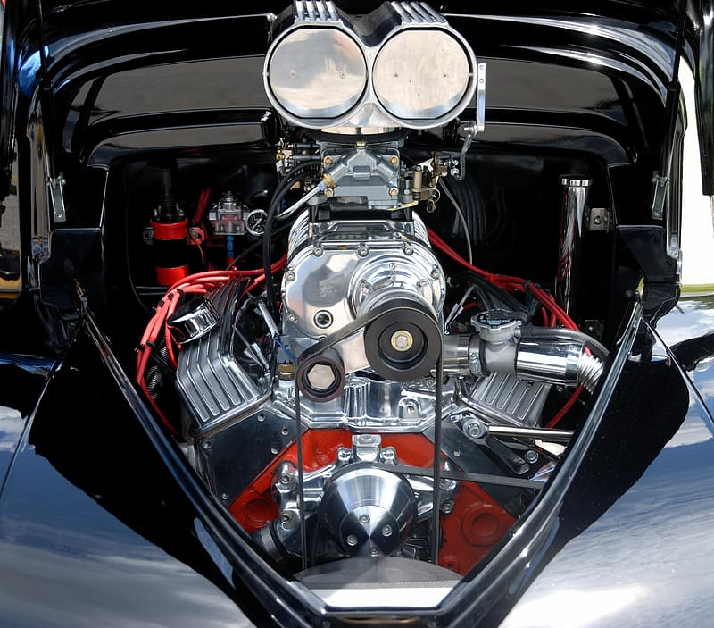 Vehicle with chrome engine with headers