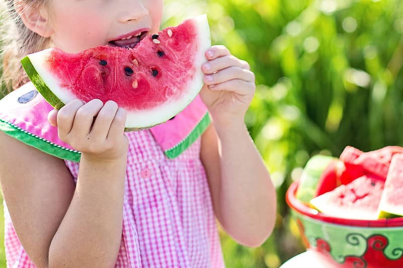 Girl holding watermelon during daytime