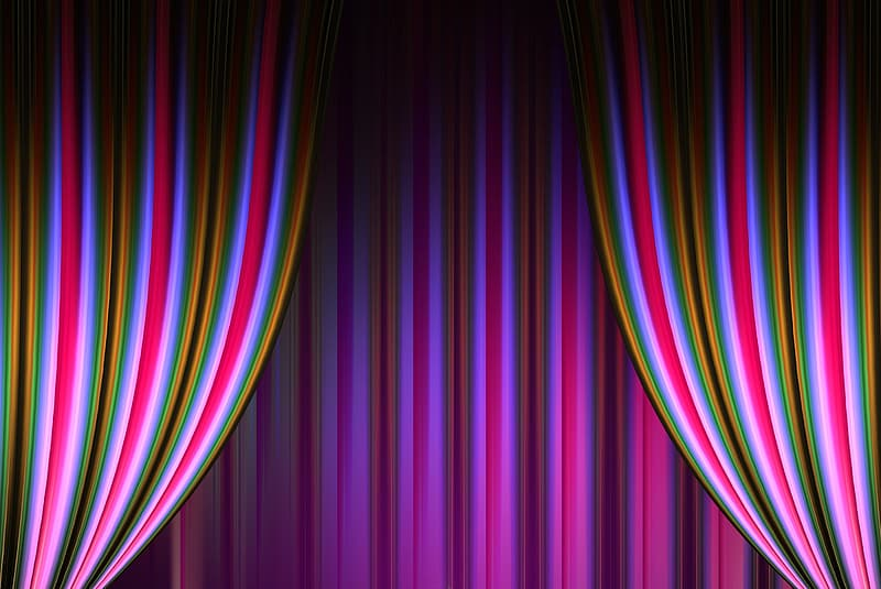 Purple-black-and-green striped curtain