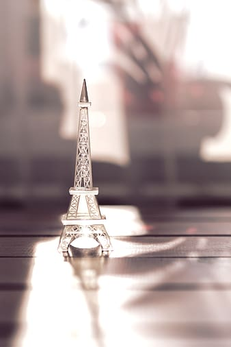Silver-colored Eiffel Tower model