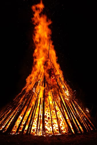 Orange and black bonfire