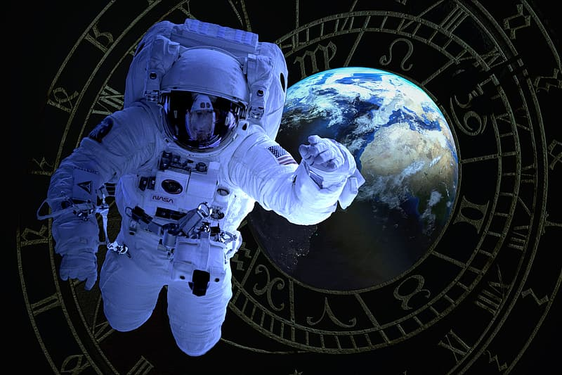 Astronaut on outer space digital wallpaper