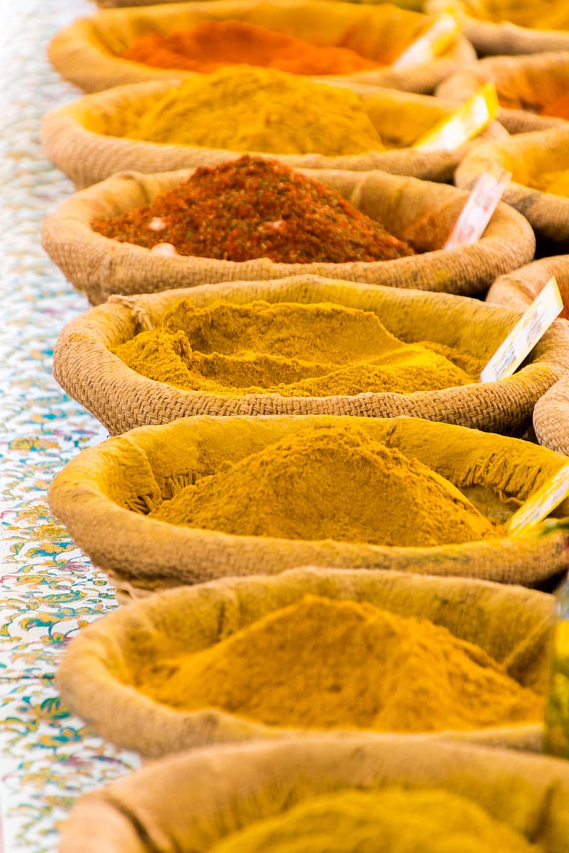 Assorted spices in brown packs