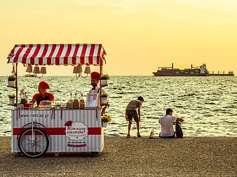 Two person standing beside food cart near beach