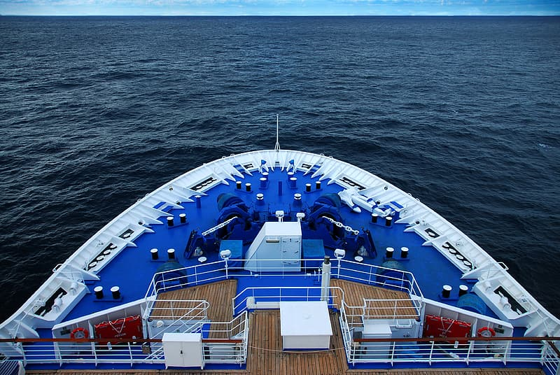 Blue and white ship