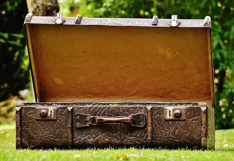 Open brown leather suitcase on grass