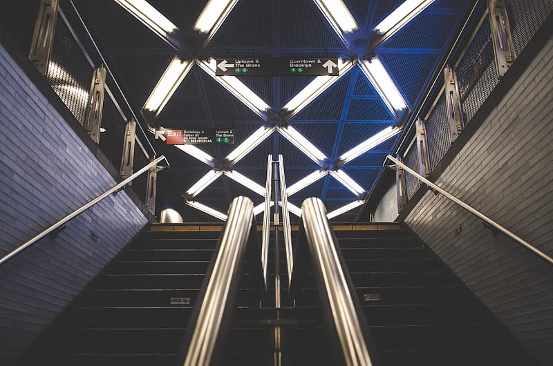 Low light photography of stairs of subway station