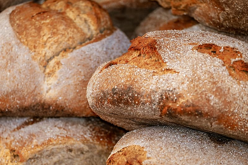 Closeup photo of baked bread