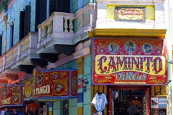 Red and yellow Caminito Tango signboard