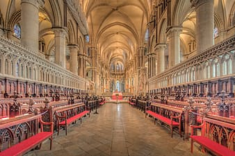 Red and white cathedral interior
