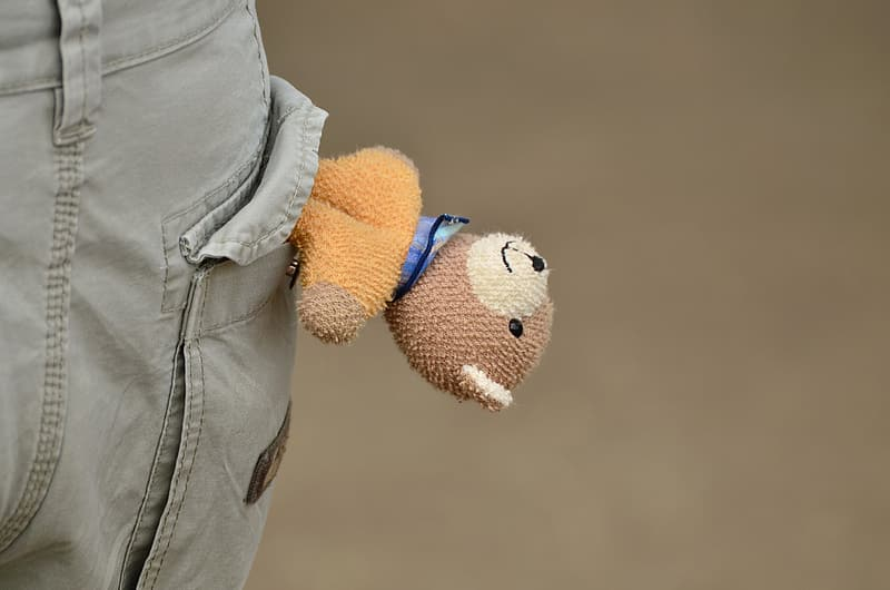 Selective focus photography of brown and orange teddy bear on person pocket